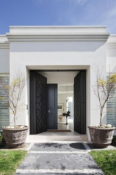 Entrance - Australia Modern Home Design by David Hicks- love the doors! House Entrance, Grand Entrance, Entrance Doors, Front Doors, Entrance Ideas, Door Ideas, Door Entry, Front Entry, Screen Doors