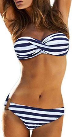 b7e75bedd69ba TDOLAH Damen Bandeau Padded Bikini-Set Trägerlosen Badeanzug Push Up:  Amazon.de: Bekleidung
