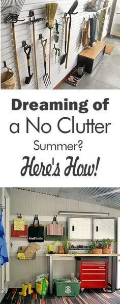 Dreaming of a No Clutter Summer? Here's How! - 101 Days of Organization  Yard Organization, How to Organize Your Yard, Tips and Tricks, How to Organize Your Yard Tools, Garden Shed Organization, How to Declutter Your Garage, Garage Organization, Organized Garage