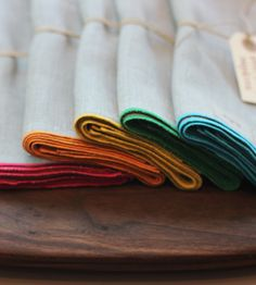 Everyday Napkins; $45 for 6 at ALder & Co.; a little bit of color when entertaining