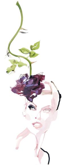 Linda Evangelista wearing the Rose hat by Philip Treacy Illustration by David Downton