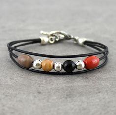 Bracelet multirang marron, noir, orangé : Bracelet par unventdeliberte