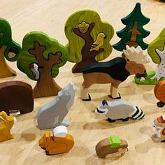 BIG SET Wooden woodland animals toys 9pcs Trees 5pcs | Etsy Pet Toys, Kids Toys, Wooden Animals, Wooden Toys, Toy Trees, Diy Crafts For Kids Easy, Nature Table, Waldorf Toys, Armadillo