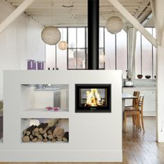 The Dovre Zen 102 Double Sided Inset Wood Burning Stove combines big impact with compact dimensions. The firebox size and heat output is ideal for linking two smaller living spaces ensuring a fabulous and full flame picture from both sides of the f Little House, House Design, Home, Home Fireplace, Barn Interior, Zen Interiors, Double Sided Stove, Fireplace, Wood Burning Fireplace Inserts