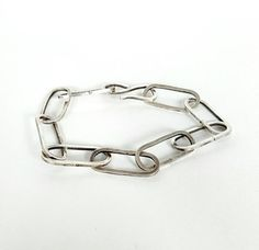 Heavy oval link silver chain bracelet. Handmade jewelry by Mystic Muse