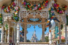 Town Square Gazebo with a view of Sleeping Beauty Castle, Disneyland Paris