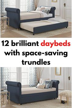 Blue upholstered daybed with trundle