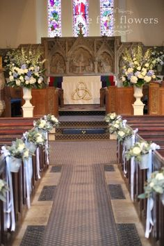 Decorating pews for weddings floral church wedding decoration wrong color not plum but like to look from the back of the church wedding churchcatholic junglespirit Images