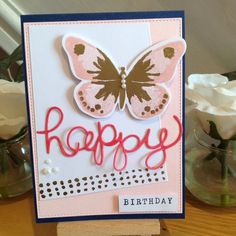 Stampin' Up! Watercolor Wings  Gold embossed, Hello You. Pink and Navy by Pauline Adamson