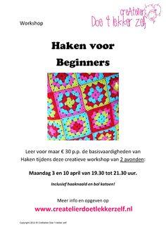 Leer in deze workshop van 2 avonden de basisbeginselen van het HAKEN :).  Gezellig CreAtief!!!