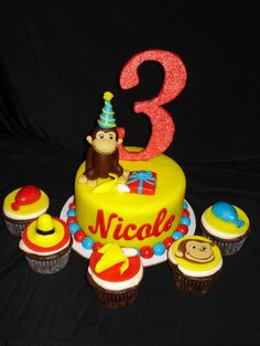 Curious George Cake/Cupcakes Curious George Cake Topper, Curious George Cakes, Curious George Party, Curious George Birthday, Birthday Party Snacks, Birthday Ideas, Birthday Cakes, Tiger Cake, Caking It Up