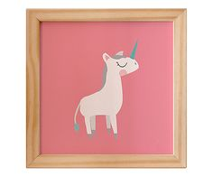 Quadro Box Pink Unicorn - 12X12cm