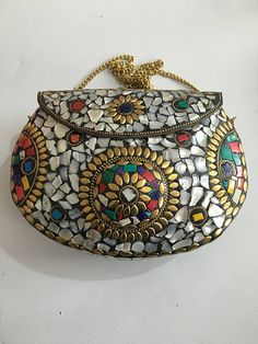 Mosaic Metal Clutch Bag