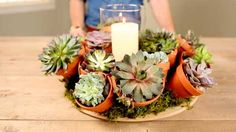 Low-maintenance succulents offer a restrained accent to this ever-so-easy Father's Day gift. Learn how to make the centerpiece.