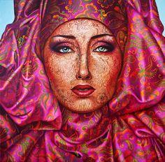 "Saatchi Online Artist: Jekaterina Razina; Oil, Painting """"Portrait in pink"""""