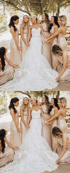 sparkly rose gold sequins long bridesmaid dresses, 2018 bridesmaid dresses, wedding party dresses