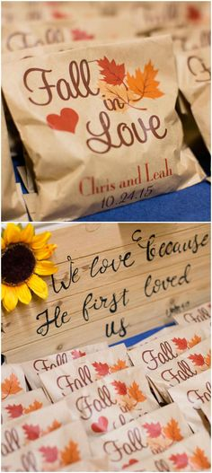 Wedding favors, sunflowers, fall in love, Christian wedding, rustic // Maria Estes Photography