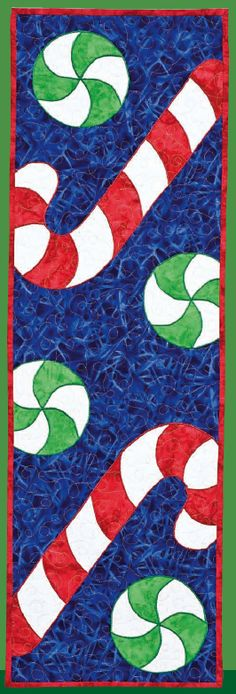 Christmas table runner with candy canes and peppermints- really cute!