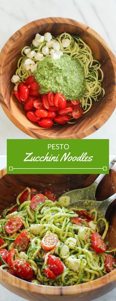 These Pesto Zucchini Noodles are a light and summery dish that doesnt require a stove top or oven! Simply whip together a fresh basil pesto and toss zucchini noodles with cherry tomatoes and mozzarella pearls. Pesto Zucchini Noodles, Zucchini Noodle Recipes, Zoodle Recipes, Spiralizer Recipes, Veggie Noodles, Diet Recipes, Vegetarian Recipes, Cooking Recipes, Healthy Recipes