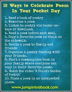 How to celebrate Poem in Your Pocket Day