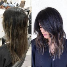 Sunday makeover #balayage #hairpainting #makeover #colorcorrection #prettyhair #darkhair #hairstyles #shorthair #beacheaves #hairinspo #hairbybrittanyy