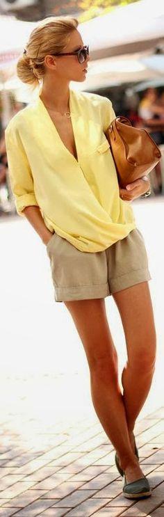 Yellow Blouse , nude shorts, flats, sunglasses sirma markova