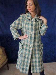 Thick nubby wool plaid coat in teal,white and  green.  Incredible flower buttons--huge white  flowers tipped in teal!
