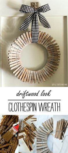 Clothespin Wreath: Driftwood Look - It All Started With Paint - for the laundry room of course! Love it
