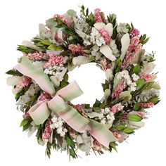 Showcasing preserved pink larkspur surrounded by natural myrtle and eucalyptus, this charming wreath is a welcoming accent in the entryway or displayed above...