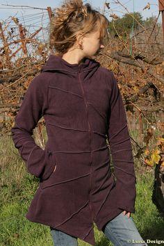 Pixie Hoodie Jacket  Long Fleece Coat  Warm by LunaDesignn on Etsy