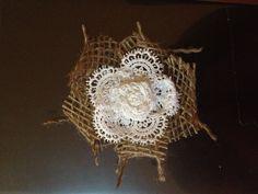 Lace and Burlap flower - @paige