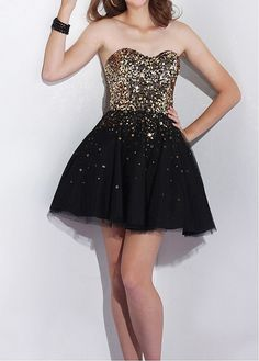 Buy discount Adorable Sequin Lace & Tulle & Satin A-line Strapless Sweetheawrt Neckline Cocktail Length Prom Dress at Dressilyme.com