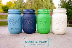 Preppy Kelly Green Navy Blue Nautical Shabby Chic Painted Mason Jars Wedding Centerpieces Baby Bridal Shower French Country Vintage on Etsy, $24.00