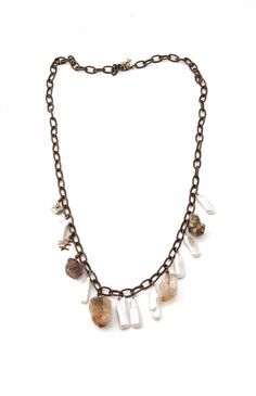 Freshwater pearls, quartz and pyrite on brass chain Measures 13 cm Brass Chain, Beaded Necklace, Quartz, Pearls, Handmade, Shopping, Jewelry, Collection, Beaded Collar