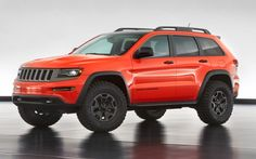 The 2014 Jeep Grand Cherokee EcoDiesel was a major boon for Jeep diesel lovers; the 2014 Jeep Grand Cherokee Trailhawk Concept uses the new clean turbodiesel engine's mountains of low-end torque with massive off-road tires. Very nice lookin Jeep Grand Cherokee Trailhawk, Jeep Grand Cherokee 2013, Jeep Wrangler Unlimited, Wrangler Jeep, Jeep Trailhawk, Jeep Wranglers, Jeep Concept, Concept Cars, Trucks