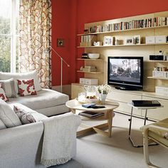 """Love the idea of a """"built in"""" with shelves around the TV - storage and it takes up virtually no space."""