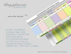 O blog planner digital tem 15 abas para organizar o seu blog: calendário editorial, planner mensal, banco de ideias, métricas, controle financeiro e mais!