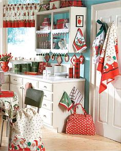Look at this vintage Christmas kitchen.  I don't think I would ever decorate my kitchen and change the entire decor for a holiday, would you?