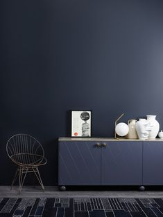 Jotun Lady launched their new color chart last week, and I was there to see all the colors live. With all the talented people working at Jotun Lady, I knew Dark Walls, Blue Walls, Jotun Lady, Modern Cabinets, Blue Rooms, Trendy Colors, Wall Colors, Pantone, Interior Inspiration