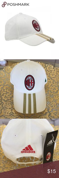 NEW ADIDAS BASEBALL CAP New Adidas ACM 3S baseball cap...unisex...white with gold stripes...ACM logo...Italian flag on left side...brand new with tag attached..refer to pics.. Adidas Other