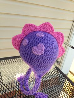 Crochet Dino Girlie Hat  6 to 12 Months  Baby Animal by lisaswick, $19.00