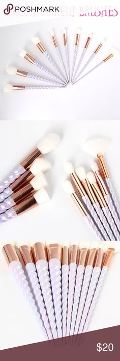 Unicorn Horn Makeup Brushes NWT. 10 Piece Set of Unicorn Horn Makeup Brushes 💙 color is a white/pearl/purple depending on the lighting. Mermaid Apparel Makeup Brushes & Tools