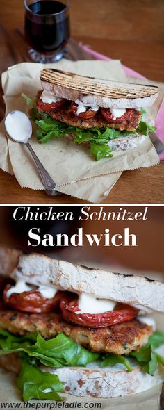 Chicken schnitzel sandwich with roast tomatoes, crispy chicken, fresh rocket and a creamy dressing.