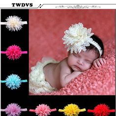 Twdvs 도매 머리띠 초라한 꽃 헤어 밴드 진주 꽃 머리띠 신생아 헤어 액세서리 w42