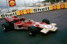 Emerson Fittipaldi (Gold Leaf-Lotus Cosworth) Grand Prix de Monaco 1971 - source Carros e Pilotos. Formula 1, Nascar, F1 Lotus, Emo, F1 Racing, Vintage Racing, Motor Car, Motor Sport, Monte Carlo