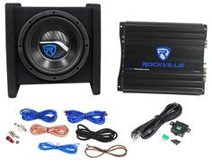 """Rockville RV8.1A 400w 8"""" Loaded Car Subwoofer Enclosure+Mono Amplifier+Amp Kit. Rockville RV8.1A Single 8"""" Bass Enclosure System With matching Mono Block Amplifier. 400 Watts Peak Power / 125 Watts RMS CEA-2031 Rating. Quasi Transmission Line Cabinet Design. Bonded, Stapled and Braced 3/5"""" MDF Cabinet. Computer Designed, Under-Side Bass Reflex, Aero-Port System. Angled at 15% for near perfect in vehicle bass alignment. Exterior: Logo embroidered high quality aviation grade tweed carpet…"""