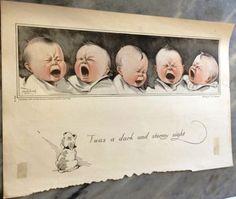 Super-Charming-Vintage-Charles-Twelvetrees-Print-Babies-Night-Morning-1919-VGC