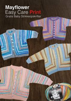 Babycardigan i domino strikket i Mayflower Easy Care Print Chrochet, Knit Crochet, Baby Barn, May Flowers, Baby Cardigan, Baby Knitting Patterns, Baby Food Recipes, Little Girls, Beanie
