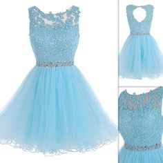 Charming Prom Dress, Appliques Tulle Prom Gown, Light Blue Short Homecoming Dress · fashiondresseess · Online Store Powered by Storenvy Dama Dresses, Quince Dresses, Hoco Dresses, Pretty Dresses, Beautiful Dresses, Casual Dresses, Bridesmaid Dresses, Formal Dresses, Prom Dress