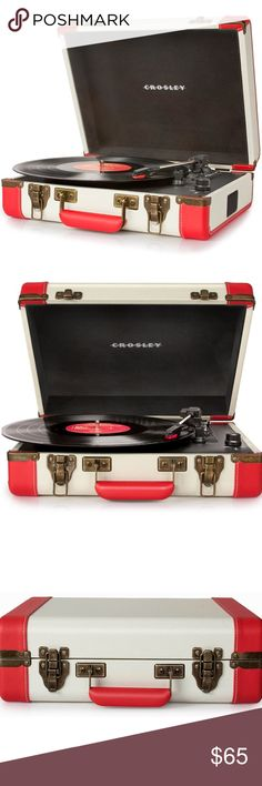 "Crosley Portable Record Player/ Turn Table New/Open Box  Make a power play with the Executive's jet-setting portability in a 3-speed turntable. A USB connection makes this tech-savvy fast talker ready to take music from vinyls to digital files in a New York Minute. Belt Driven Turntable Mechanism Diamond Stylus Needle Fully Automatic Return Tone Arm Plays 3 Speeds - 33 1/3, 45 And 78 RPM Records Plays 7"", 10"" & 12"" Records USB Enabled For Connection to Windows Equipped PC and Mac Brass…"
